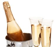 Two champagne glass with bottle. Stock Images