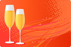 Two champagne glass on halftone background. With wave design Royalty Free Stock Image