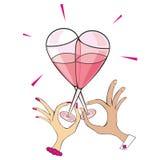 Two champagne glasses. Vector illustration of two champagne glasses composing a heart shape Stock Illustration