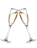 Two champagne glasses. Raised in a toast isolated on white Royalty Free Stock Photos