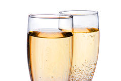 Two champagne glasses. Isolated on white Royalty Free Stock Photo