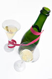 Two  champagne glasses and bottle. With  providing Stock Photo