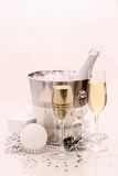 Two champagne glasses, Christmas ball, gift Stock Photo