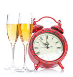 Two champagne glasses and christmas clock Royalty Free Stock Images