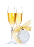 Two champagne glasses and christmas decor Royalty Free Stock Photography