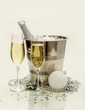 Two champagne glasses, cooler Royalty Free Stock Image