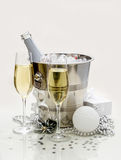 Two champagne glasses, cooler Stock Image