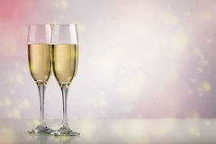 Two champagne glasses with copy space Royalty Free Stock Image