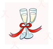 Two Champagne Glasses Dancing. A couple of Champagne Glasses, in a Illustration dance tied with a red bow Stock Images