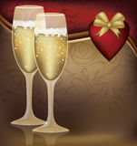 Two Champagne Glasses with  Heart Stock Photos