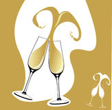 Two champagne glasses with heart shaped splash. Hand drawn illustration of two champagne glasses or flutes with abstract heart splash Stock Photos