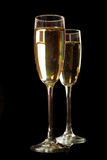 Two champagne glasses isolated on black Stock Photo