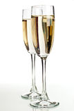 Two champagne glasses isolated on white Stock Photo