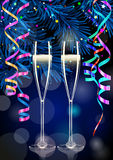 Two champagne glasses in New Year background Royalty Free Stock Image