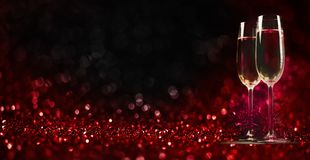 Free Two Champagne Glasses On Sparkling Red Bokeh Background. Valentine`s Day Dinner Invitation. Christmas And New Year Holiday Party Stock Photo - 167271690
