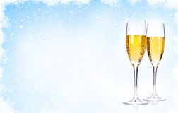 Two champagne glasses over christmas background Stock Photography