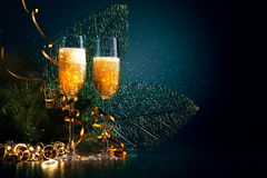 Glasses of champagne at new year party Stock Photography