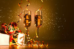 Glasses of champagne at new year party Royalty Free Stock Image