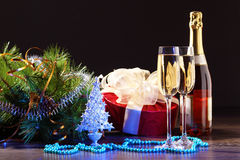 Glasses of champagne at new year party Stock Photo