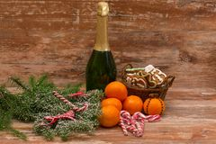 Two champagne glasses ready to bring in the New Year Stock Photo