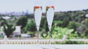 Two champagne glasses with strawberry on sunny terrace outdoor patio overlooking green trees at summer day outside of. The city stock photos