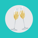 Two champagne glasses toasting flat design Stock Photography