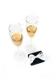 Two champagne goblets with jeweller box on white Stock Photos