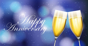 Two champaign glasses on anniverary card. Illustration Stock Photos