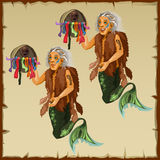 Two character fish men with tail and deity Stock Images