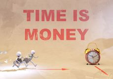 Time is money. Two character running for a deadline represented as an alarm clock Royalty Free Stock Image