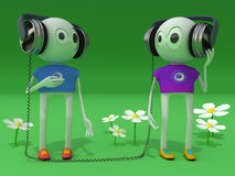 Two characters. In ear-phones vector illustration