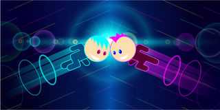 Two characters clash. Vector illustration Royalty Free Stock Image