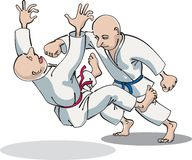 Two characters compete in karate Royalty Free Stock Photography