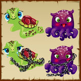 Two characters turtle and octopus Royalty Free Stock Photos