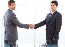 Two charismatic businessmen shaking hands Stock Images