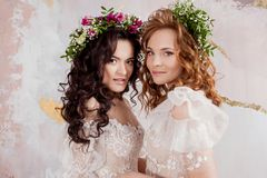 Two charming brides in beautiful spring wreaths on their heads. Beautiful young women in wedding dresses. Studio portrait stock image