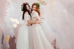 Two charming brides in beautiful spring wreaths on their heads. Beautiful young women in wedding dresses. Studio portrait royalty free stock photography