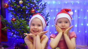 Two charming girl smiling and dancing in the evening of Christmas. In the background, lights and garlands of Christmas stock video footage