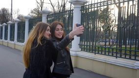 Two charming girls make selfi in Park stock video