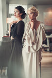 Two charming ladies in elegant evening dresses in restaurant Stock Photos