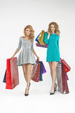 Two charming ladies with plenty of shopping bags Royalty Free Stock Photo