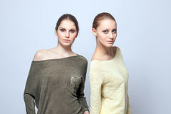 Two charming models posing in casual clothes Royalty Free Stock Image