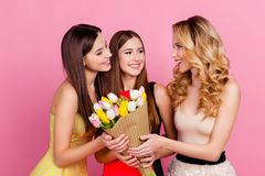 Two charming, pretty girls presenting bouquet of colorful tulips. To their  nice friend, standing over pink background, celebrating eight-march, women`s day Royalty Free Stock Image