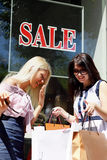 Two charming young woman going shopping. Two charming young women going shopping Royalty Free Stock Photo