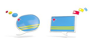 Two chat icons with flag of aruba. Round and square speech bubbles. 3D illustration Stock Photos