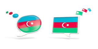 Two chat icons with flag of azerbaijan stock de ilustración