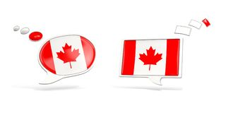 Two chat icons with flag of canada. Round and square speech bubbles. 3D illustration Royalty Free Stock Image