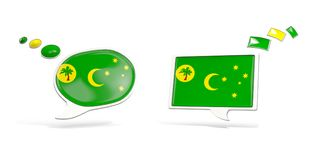 Two chat icons with flag of cocos islands Zdjęcia Stock