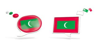 Two chat icons with flag of maldives. Round and square speech bubbles. 3D illustration Stock Images