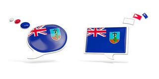 Two chat icons with flag of montserrat. Round and square speech bubbles. 3D illustration Royalty Free Stock Photography